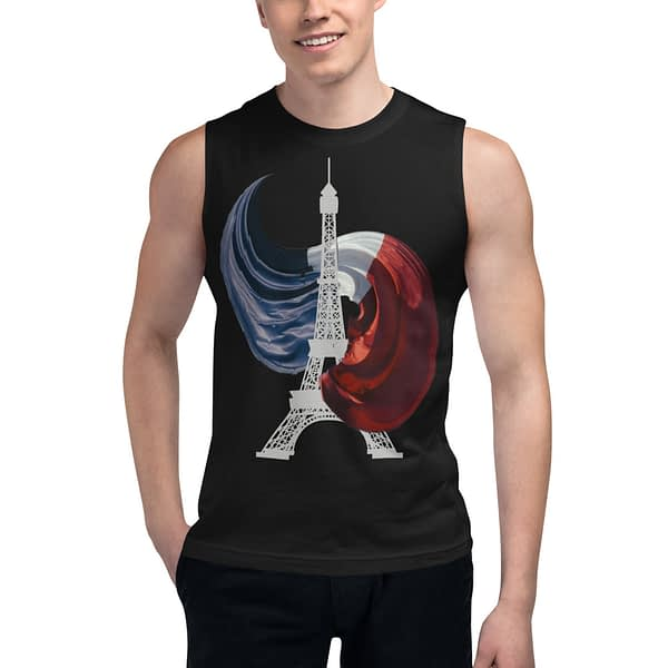 French Flag Eiffel Tower Muscle Shirt