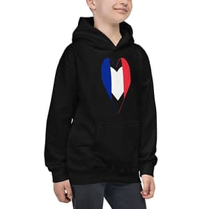 Tricolore Heart French Flag Kids Hoodie