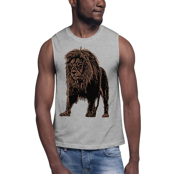 Lion African Drawing Muscle Shirt