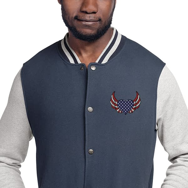 American Heart Wing Embroidered Champion Bomber Jacket