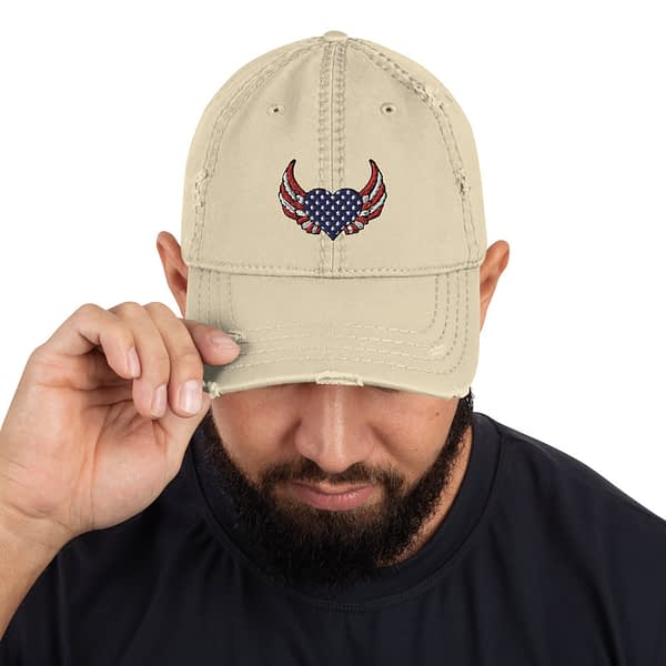 American Heart Wing Distressed Dad Hat
