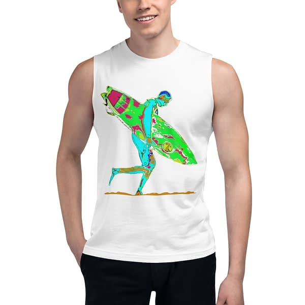 Surfboard Surfer Colorful Muscle Shirt