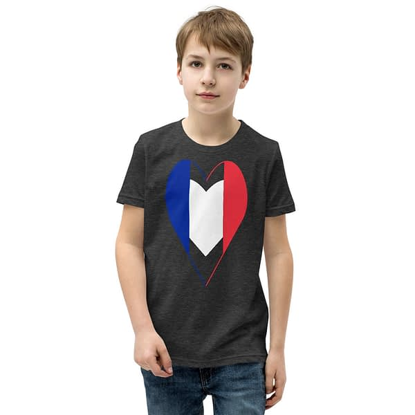 Tricolore Heart French Flag Youth T-Shirt